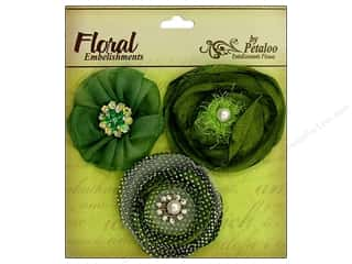 Sequins Green: Petaloo Expressions Collection Flowers Light Green 3pc