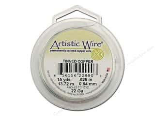silver jewelry wire: Artistic Wire 22 ga. Copper Wire 15 yd. Tinned