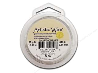 silver jewelry wire: Artistic Wire 24Ga 20yd Tinned Copper