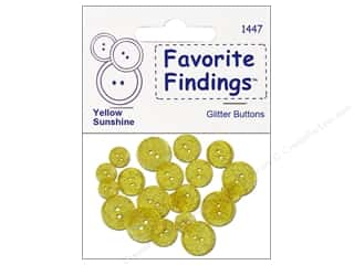 Clearance Blumenthal Favorite Findings: Blumenthal Glitter Buttons Yellow Sunshine 20 pc.