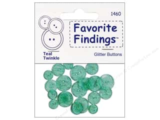 Blumenthal 2 Hole Buttons Glitter Teal 20pc