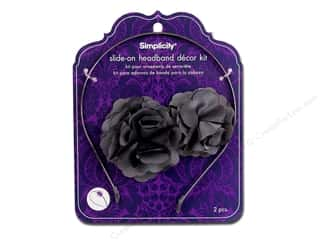 Hair Comb / Headband: Simplicity Headband Kit Satin Die Cut Flower Grey