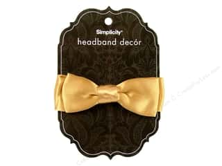 Simplicity Headband Decor Bow Satin Gold