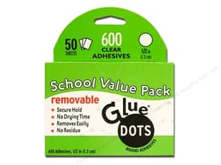 "Glues/Adhesives: Glue Dots Removable 1/2"" School Value Pack 600pc"