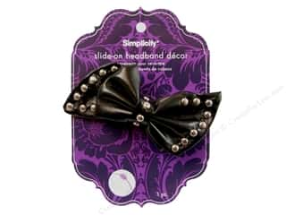 Simplicity Headband Decor Pleather Bow Stud Black