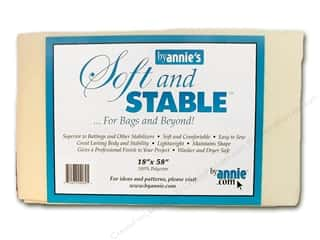 "fusible batting: By Annie Soft And Stable 100% Poly 18""x 58"" White"