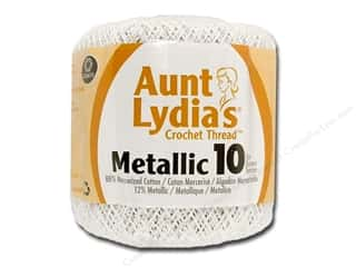 Weekly Specials Singer Thread: Aunt Lydia's Metallic Classic Cotton Crochet Thread Size 10 White/Pearl