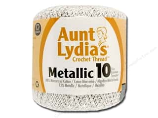 Aunt Lydia's Metallic Classic Cotton Crochet Thread Size 10 White/Silver