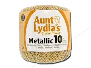 Aunt Lydia's Metallic Classic Crochet Thread Size 10 Natural/Gold