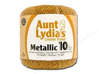 Weekly Specials Singer Thread: Aunt Lydia's Metallic Classic Cotton Crochet Thread Size 10 Gold/Gold