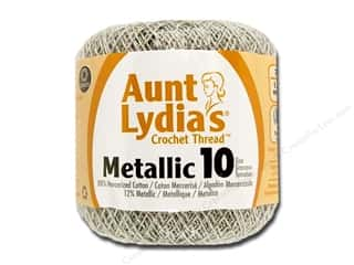 Weekly Specials Singer Thread: Aunt Lydia's Metallic Classic Cotton Crochet Thread Size 10 Silver/Silver