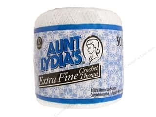 Threads 201 - 999 Yards: Aunt Lydia's Extra Fine Crochet Thread Size 30 #201 White