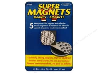 "The Magnet Source Magnet Neodymium Adhesive Disc 3/4"" 5pc"