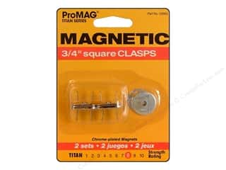 "Magnets: ProMag Magnetic Clasp Square Silver 3/4"" 2pc"