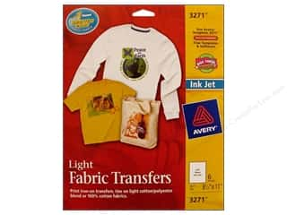 Transfers 11 in: Avery Fabric Transfers for Inkjet Printers 8 1/2 x 11 in. Light 6 pc.
