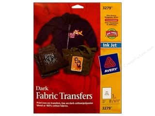 Fabric 1 Sheet: Avery Fabric Transfers for Inkjet Printers 8 1/2 x 11 in. Dark T-Shirt 5 pc.