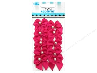 Offray Ribbon Accent 2 Loop Bow With Pearl Hot Pink 10pc