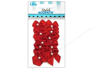 Craft Embellishments: Offray Ribbon Accent 2 Loop Bow With Pearl Red 10pc