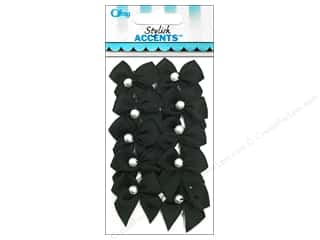 Offray Ribbon Accent 2 Loop Bow With Pearl Black 10pc
