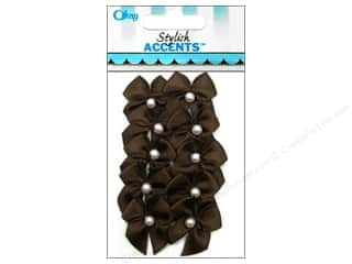 Ribbons Offray Ribbon Accent: Offray Ribbon Accent 2 Loop Bow With Pearl Brown 10pc
