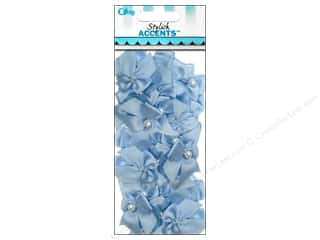 Offray Blue: Offray Ribbon Accent 2 Loop Bow With Pearl Light Blue 40pc
