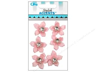Offray Ribbon Accent 5 Petal Flower & Gem Pink 6pc