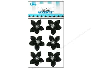 Offray Ribbon Accent 5 Petal Flower & Gem Black 6pc