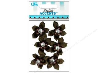 Offray Ribbon Accent 5 Petal Flower & Gem Brown 6pc