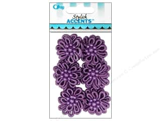 Offray Ribbon Accent Elegant Loop Flower Purple 6pc