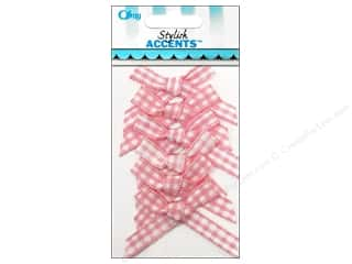 Offray Ribbon Accent Gingham Check Bow Pink 6pc