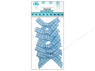 Offray Ribbon Accent Gingham Check Bow Blue 6pc