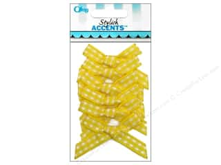 Offray Ribbon Accent Gingham Check Bow Yellow 6pc