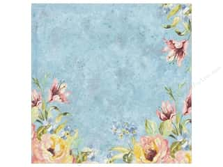 Printing Translucent: K&Company Paper 12x12 Watercolor Bouquet Blue Foil Flower (12 sheets)