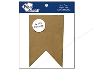 Chipboard Paper Accents Chipboard Pennants: Paper Accents Chipboard Pennants 2 1/2 x 4 in. Mini Two Point 12 pc. Kraft
