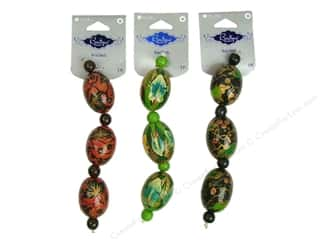 wood Beads: Blue Moon Beads BS Wood Hand Paint #2 Multi