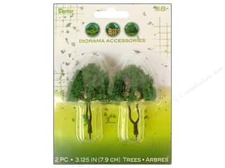 Darice Diorama Tree Dual Trunk  Powder 3 1/8&quot; 2pc