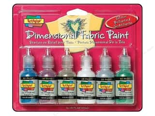 Scribbles Dimensional Fabric Paint Set Glitter 6pc