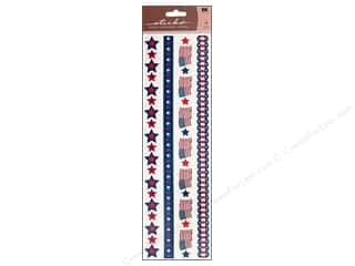 sticko: EK Sticko Sticker Epoxy Border Patriotic Ribbon