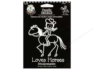 Rub-Ons Decals: Plaid Peeps Family Decals Loves Horses Large