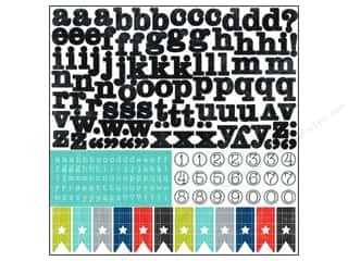 "Echo Park Paper Company Alphabet Stickers: Echo Park Sticker 12""x 12"" Dots & Stripes Metropolitan Alphabet (15 sheets)"