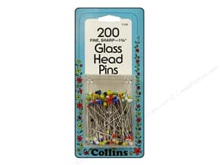 sewing pins: Glass Head Pins by Collins 1 3/8 in. 200 pc.