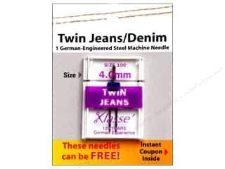 Quilting $0 - $4: Klasse Machine Needle Twin Jean Size 100 4.0mm 1pc Card