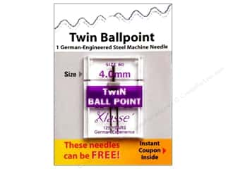 Quilting $0 - $4: Klasse Machine Needle Twin Ball Point Size 80 4.0mm 1pc Card
