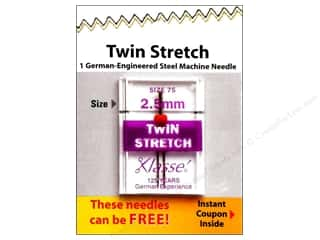 sewing machine needle threader: Klasse Machine Needle Twin Stretch Size 75 2.5mm 1pc Card