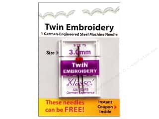 Clearance $0 - $3: Klasse Machine Needle Twin Embroidery Size 75 3.0mm 1pc Card