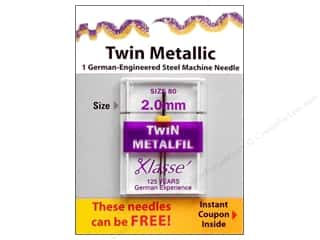 Klasse Machine Needle Twin Metallic Sz 80 2.0mm