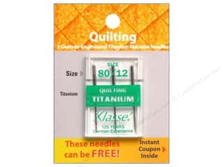 Needles / Machine Needles $3 - $4: Klasse Machine Needle Quilting Titanium Size 80/12 3pc Card