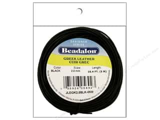 Beadalon Greek Leather Cording: Beadalon Greek Leather Cord 2.0mm Black 16.4 ft.