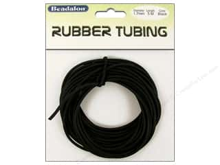"Jewelry Making Supplies 5"": Beadalon Rubber Tubing Cord 1.7 mm (1/16 in.) Black 5 m (16.4 ft.)"
