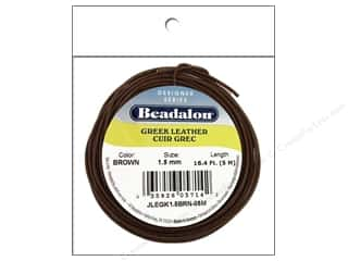 Beadalon Greek Leather Cording: Beadalon Greek Leather Cord 1.5mm Brown 16.4 ft.